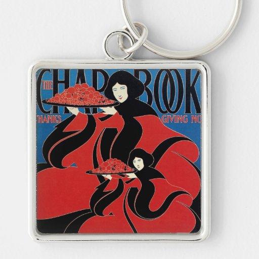Vintage Art Nouveau Chap Book Thanksgiving Keychain