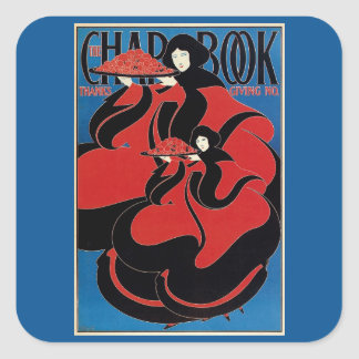 Vintage Art Nouveau Chap Book Thanksgiving Square Sticker