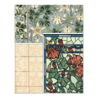 Vintage Art Nouveau, Columbine Aquilegia Flowers Card