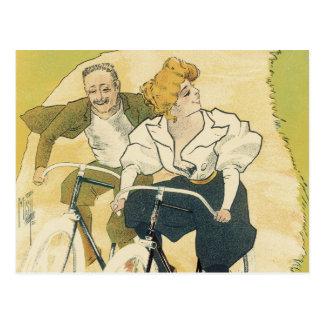 Vintage Art Nouveau Couple Bicycle Gladiator Cycle Postcards