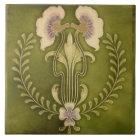 Vintage Art Nouveau Deco Majolica Floral Craftsman Tile