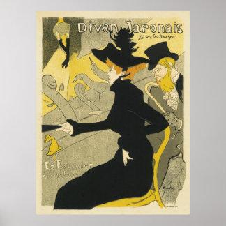 Vintage Art Nouveau, Divan Japonais Nightclub Cafe Poster