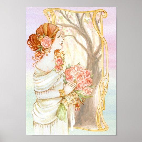 Vintage Art Nouveau Elegant Flower Lady Poster