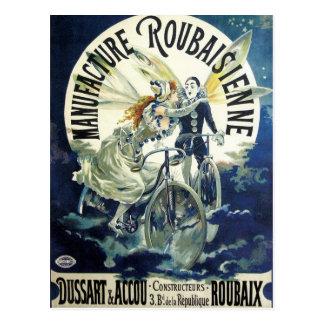 Vintage Art Nouveau Fairies, Pierrot Bicycle Moon Postcards