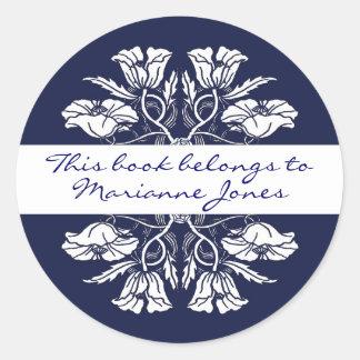 Vintage Art Nouveau Floral Book Plate Classic Round Sticker