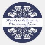 Vintage Art Nouveau Floral Book Plate Round Stickers