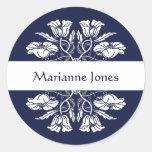 Vintage Art Nouveau Floral Name Label Round Stickers