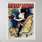 Vintage art nouveau French cancan dance ad Poster