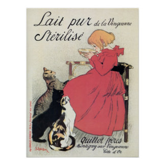 Vintage Art nouveau French milk ad, cats, girl Poster
