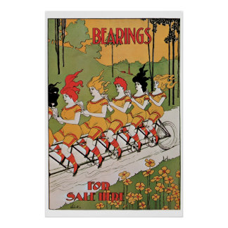Vintage art Nouveau funny girls on a tandem Poster