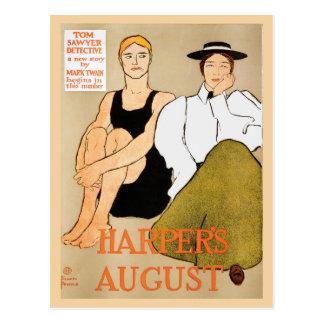 Vintage art nouveau Harper's magazine August Postcards