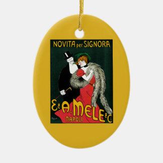 Vintage Art Nouveau, Italian Fashion Love Romance Christmas Ornament
