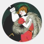 Vintage Art Nouveau, Italy Fashion Couple Round Sticker
