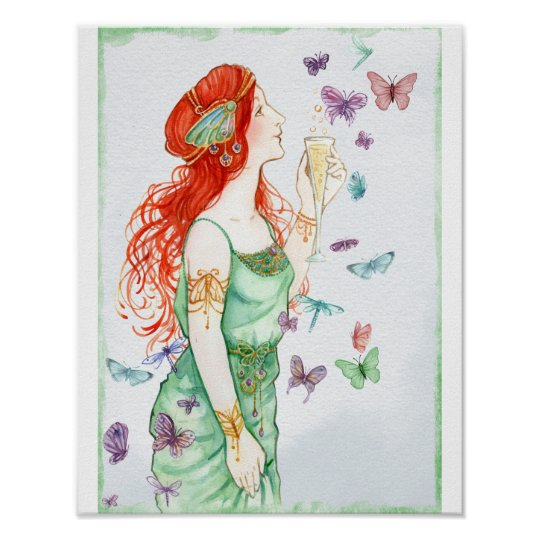 Vintage Art Nouveau Lady Champagne And Butterflies Poster
