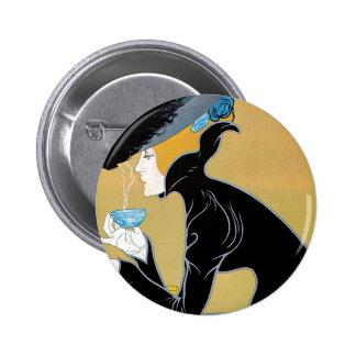 Vintage Art Nouveau, Lady Drinking Marco Polo Tea 6 Cm Round Badge