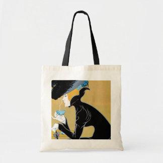Vintage Art Nouveau, Lady Drinking Marco Polo Tea Budget Tote Bag