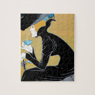 Vintage Art Nouveau, Lady Drinking Marco Polo Tea Jigsaw Puzzle
