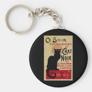 Vintage Art Nouveau, Le Chat Noir Basic Round Button Key Ring