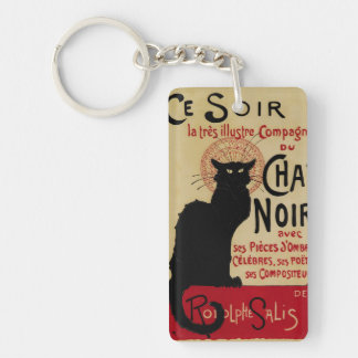Vintage Art Nouveau, Le Chat Noir Double-Sided Rectangular Acrylic Key Ring
