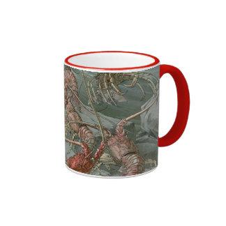 Vintage Art Nouveau Lobsters in the Ocean Ringer Mug