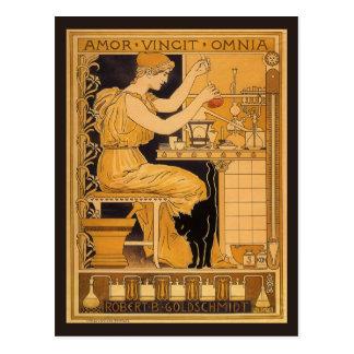 Vintage Art Nouveau, Love Conquers All Scientist Postcard