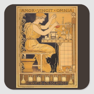 Vintage Art Nouveau, Love Conquers All Scientist Square Sticker