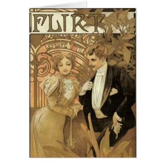Vintage Art Nouveau Love Romance, Flirt by Mucha Card
