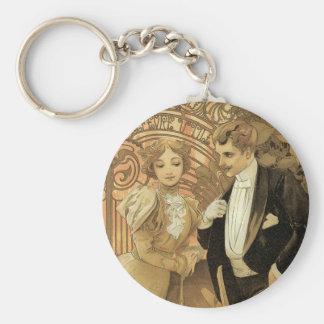 Vintage Art Nouveau Love Romance, Flirt by Mucha Key Ring