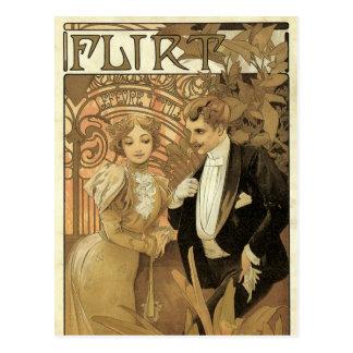 Vintage Art Nouveau Love Romance, Flirt by Mucha Postcard