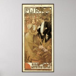Vintage Art Nouveau Love Romance, Flirt by Mucha Poster