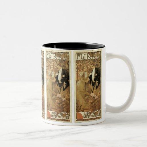 Vintage Art Nouveau Love Romance, Flirt by Mucha Two-Tone Mug