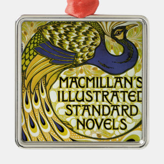 Vintage Art Nouveau, Macmillan's Peacock Feather Silver-Colored Square Decoration