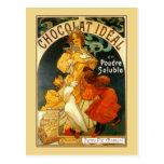 Vintage art nouveau Mucha chocolate drink ad Postcard