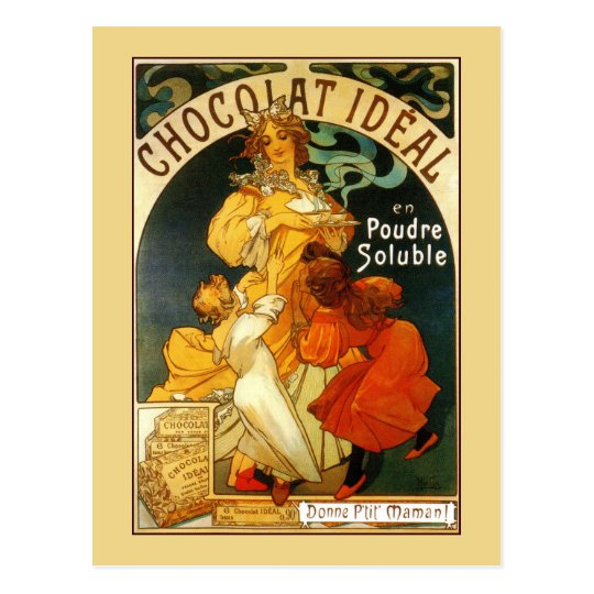 Vintage art nouveau Mucha chocolate drink ad Postcard