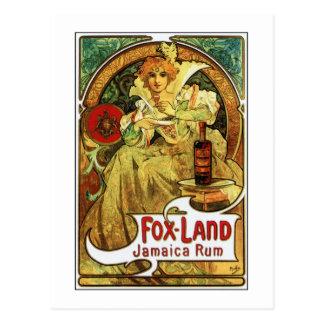 Vintage art nouveau Mucha Jamaica Rum ad Postcard