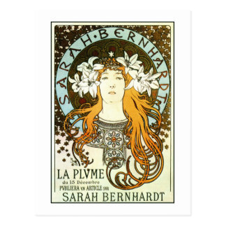 Vintage art nouveau Mucha Sarah Bernhardt ad Postcard
