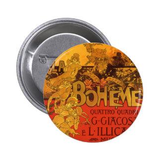 Vintage Art Nouveau Music, La Boheme Opera, 1896 6 Cm Round Badge