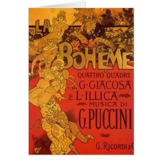 Vintage Art Nouveau Music, La Boheme Opera, 1896 Card