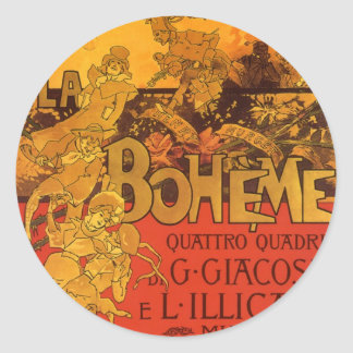 Vintage Art Nouveau Music, La Boheme Opera, 1896 Classic Round Sticker