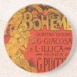 Vintage Art Nouveau Music, La Boheme Opera, 1896 Beverage Coaster