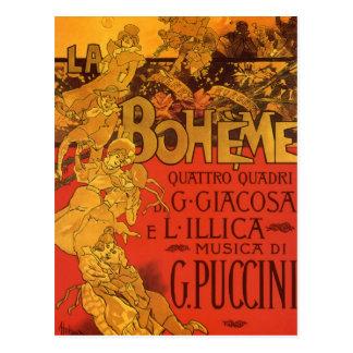 Vintage Art Nouveau Music La Boheme Opera 1896 Postcard