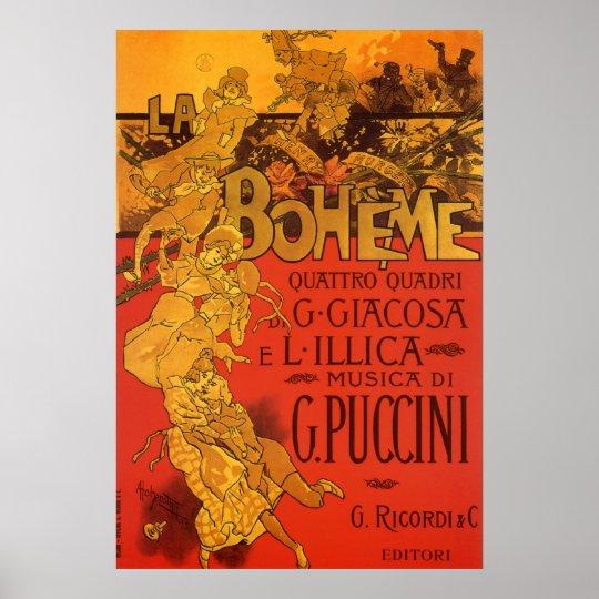 Vintage Art Nouveau Music, La Boheme Opera, 1896 Poster