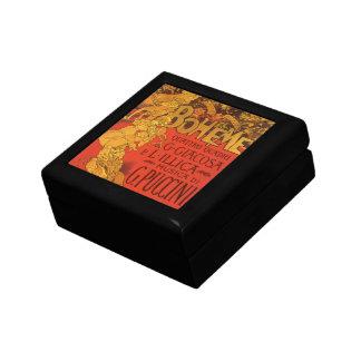 Vintage Art Nouveau Music, La Boheme Opera, 1896 Small Square Gift Box
