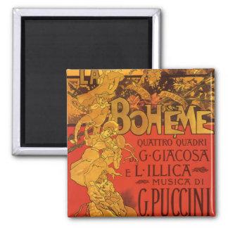 Vintage Art Nouveau Music, La Boheme Opera, 1896 Square Magnet