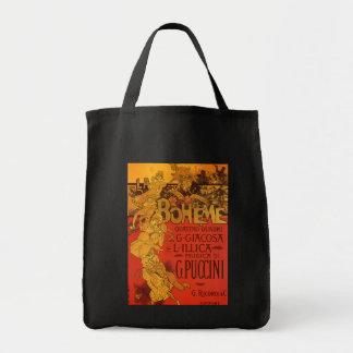 Vintage Art Nouveau Music, La Boheme Opera, 1896 Grocery Tote Bag
