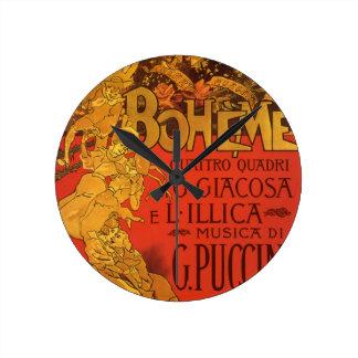 Vintage Art Nouveau Music, La Boheme Opera, 1896 Wallclocks