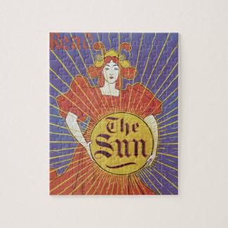 Vintage Art Nouveau, New York Sun Newspaper Jigsaw Puzzle