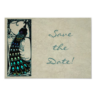 Vintage Art Nouveau Peacock Wedding Save the Date 9 Cm X 13 Cm Invitation Card