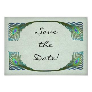 Vintage Art Nouveau Peacock Wedding Save the Date 9 Cm X 13 Cm Invitation Card