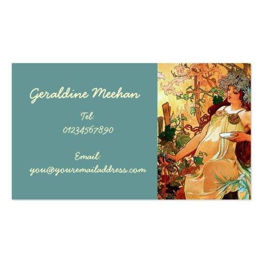 Create your own historian business cards vintage art nouveau personal business cards reheart Gallery